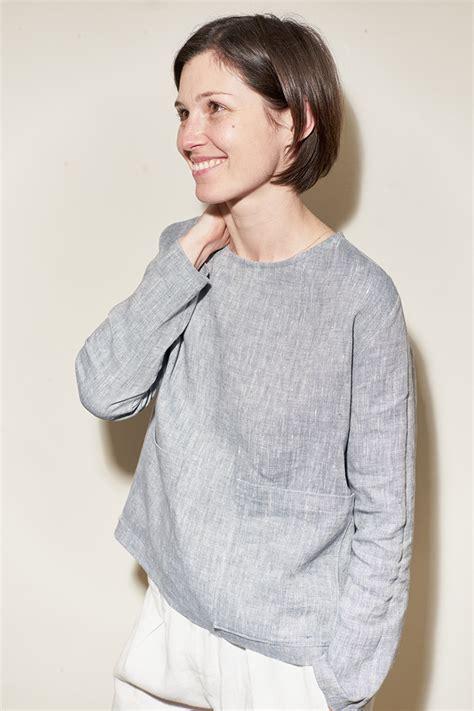 Blouse Saku Jumbo Linen linen blouse with oversized patch pockets tutorial