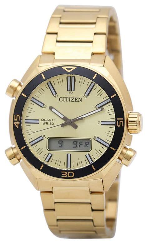 s citizen digital analog gold tone jm5462 56p ebay