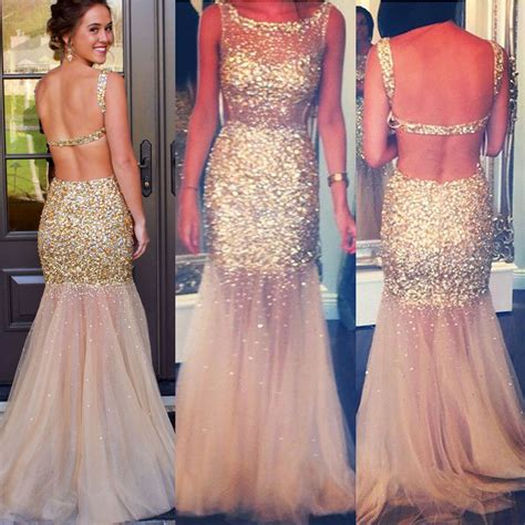 chagne backless tulle prom dress all gold beaded