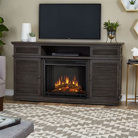 cavallo electric fireplace tv stand in grey 9110e gry