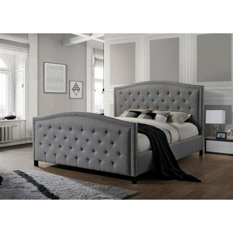 grey upholstered king bed luxeo camden gray king upholstered bed lux k6379 gry the