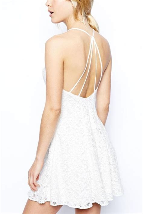 White lace halter strappy backless a line dress casual dresses women
