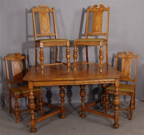 226 jacobean style 5 pc oak dining room set lot 226