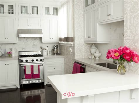 pink wallpaper kitchen hot pink accents transitional kitchen caitlin wilson