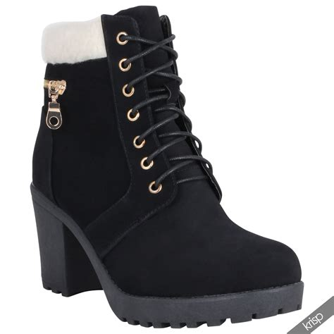 womens high heel combat boots womens chunky block high heel worker ankle boots cleated