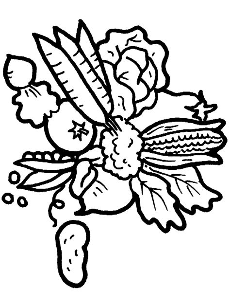 Coloring Pages Of Fresh Fruit And Vegetables Learn To Fruits And Vegetables Coloring Page