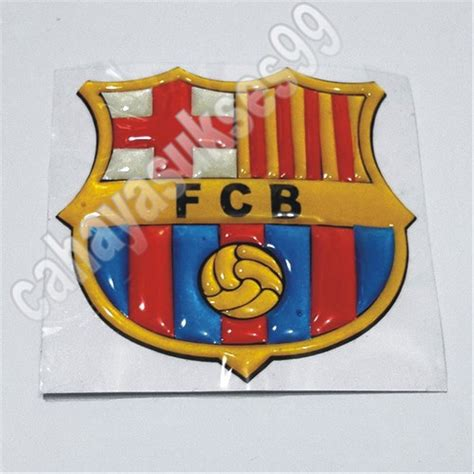 jual sticker gambar timbul klub bola barcelona football