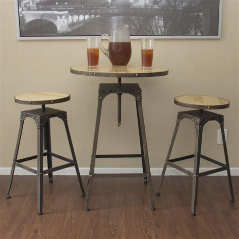 High Bar Table Set 3pc Industrial Vintage Metal Design Bistro Set Adjustable High Bar Chair Antique