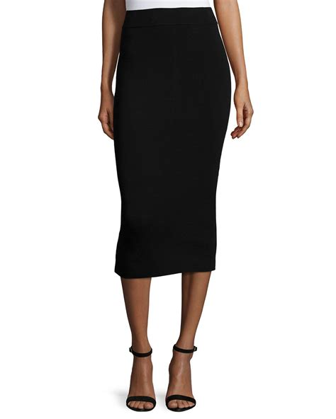 milly fitted midi pencil skirt in black lyst