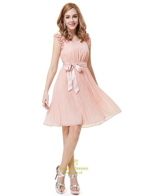 light pink chiffon dress light pink chiffon knee length bridesmaid dress with