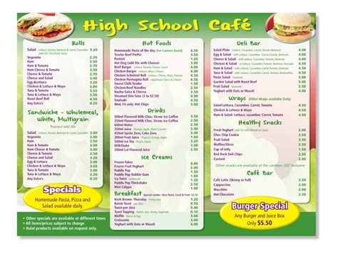 canteen card templates 38 playful school menu designs for a school