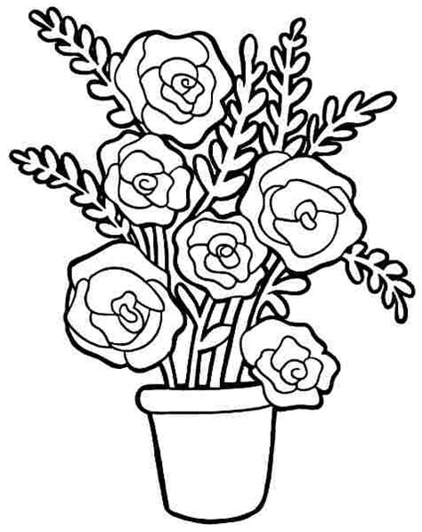 Colouring Pages Bouquet Flowers Free Printable For Toddler Bouquet Roses Coloring Pages
