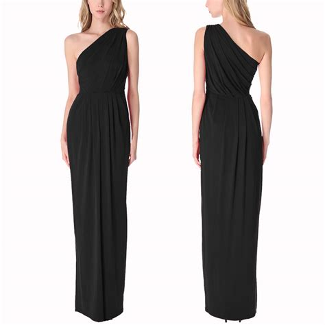 draped formal dress long draped one shoulder jersey formal gown evening dress
