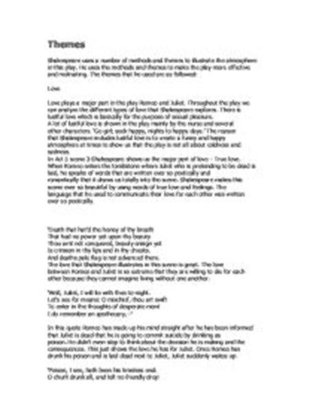 themes of romeo and juliet gcse romeo and juliet themes gcse english marked by