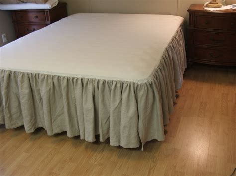 bed skirts linen bedskirt queen by mythymecreations on etsy