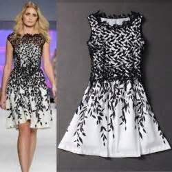 Dresses new fashion 2014 summer designer black and white leaf print