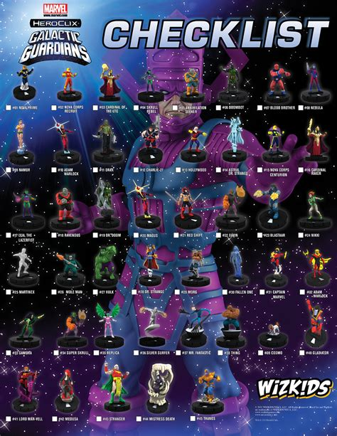 marvel list heroclix galactic guardians and sets