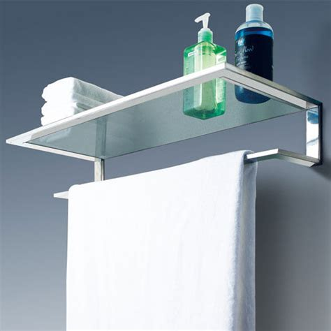 Bathroom Shelves With Towel Bar Cool Line Platinum Collection Bathroom Glass Shelf With Towel Bar Kitchensource