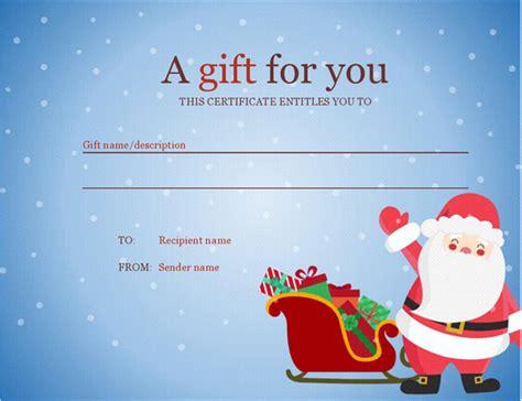 Christmas Gift Certificate Christmas Spirit Design Santa Gift Certificate Template