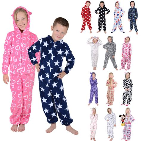 Jumpsuit Topi boys hooded fleece all in one pyjamas pj