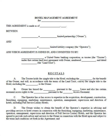 hotel contract template 8 management contract template free sle exle
