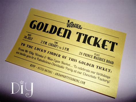 And The Chocolate Factory Wedding Invitations golden ticket invitations printable willy wonka