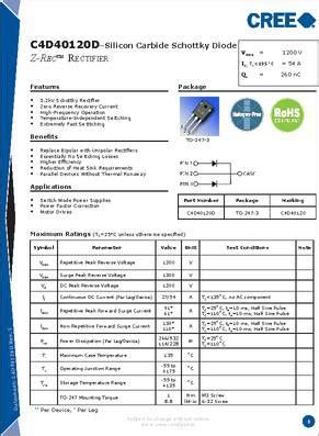 schottky diode specifications c3d04060e datasheet specifications diode type silicon carbide schottky