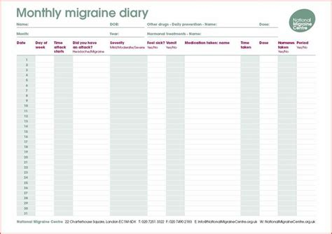 printable migraine diary template 17 best images about migraines on migraine