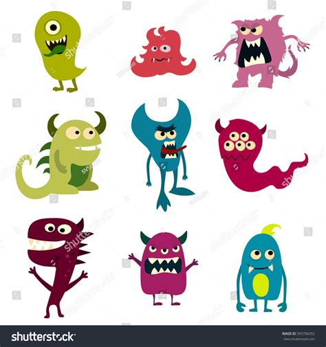doodle monsters vector doodle monsters set colorful