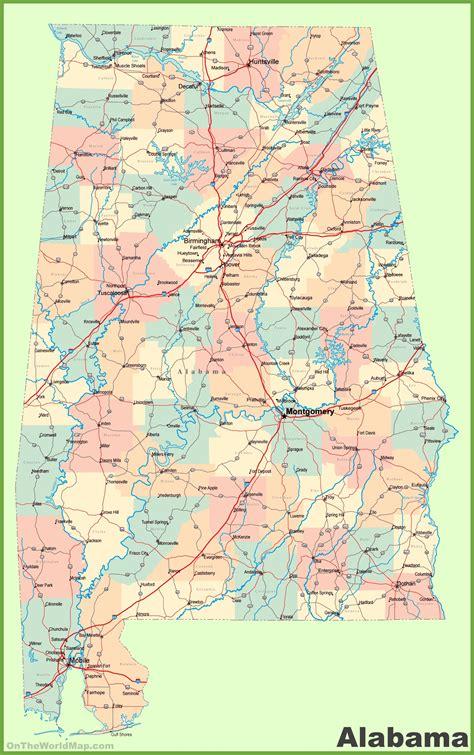 alabama on map of usa large detailed map of alabama