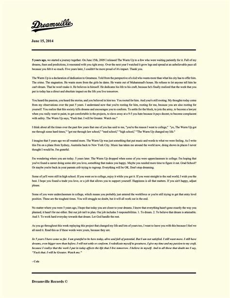 j up letter j cole writes heartfelt letter to his fans 5 year