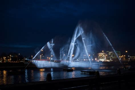 designboom ghost ship a 3d ship projected onto curtains of water at the