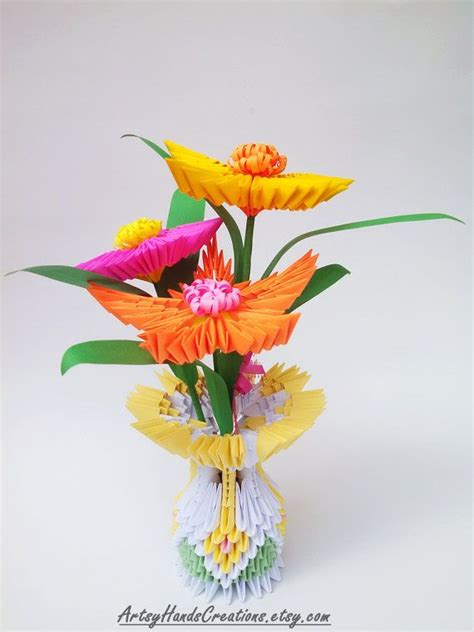 How To Make A 3d Origami Flower Vase - 3d origami flower vase 3d origami vase with flowers 3d