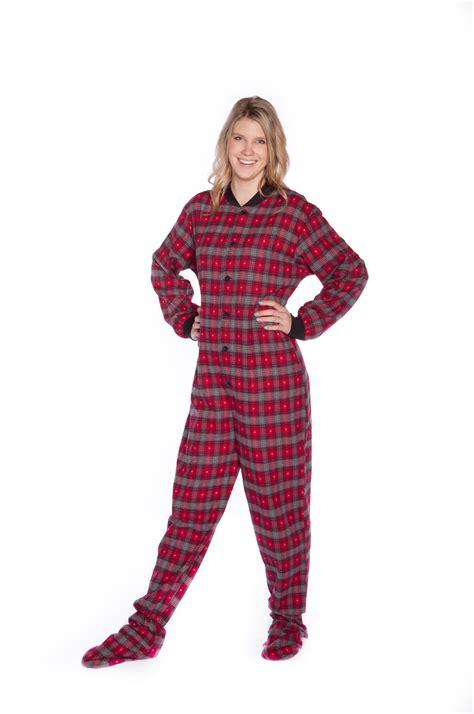 mens drop seat pajamas big onesie footie pajamas black plaid