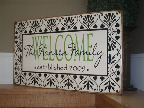 Handmade Welcome Signs - custom personalized welcome sign your last name