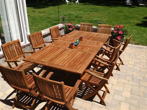 Teak Patio Outdoor Furniture Goldenteak Teak Extension Table 81l And 10 Teak Providence Chairs At Customer House Click To