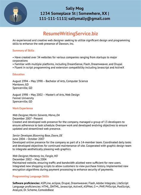 web designer resume template web designer resume sample designer