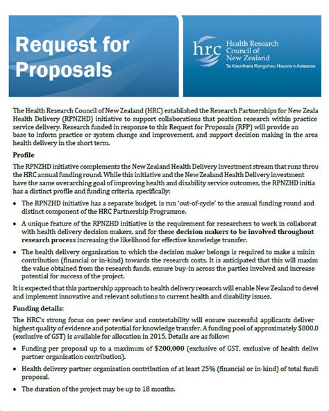 proposal format government request for proposal template 9 download free documents