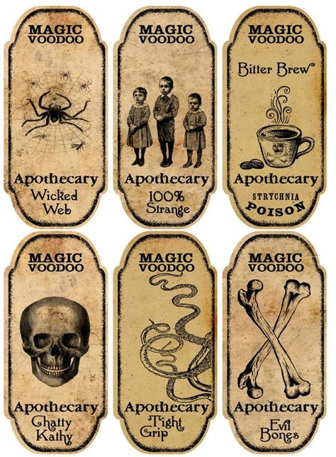 printable halloween labels for bottles halloween 6 large magic voodoo apothecary bottle labels