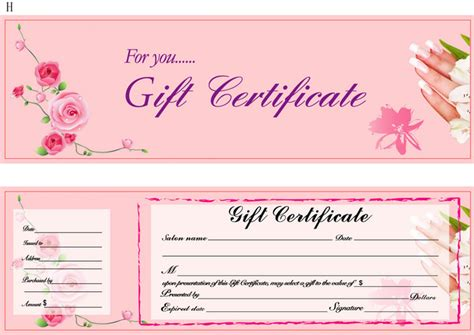 nail gift certificate template nail gift certificate related keywords nail gift