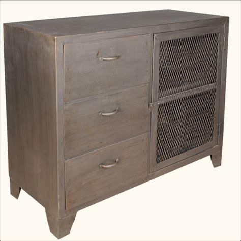 Industrial Wrought Iron Metal Storage Drawer Cabinet Metal Sideboard Buffet