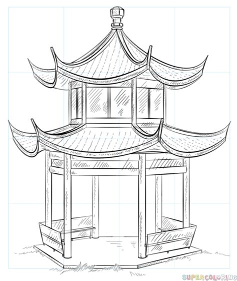 chinese house coloring page how to draw how the chinese pagoda step by step drawing