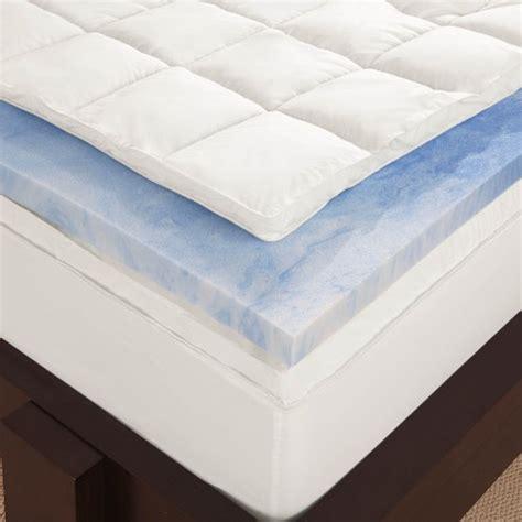 Sleep Innovations Air Mattress by Sleep Innovations 4 Inch Dual Layer Mattress Topper Gel Memory Foam And Plush Fiberfill With