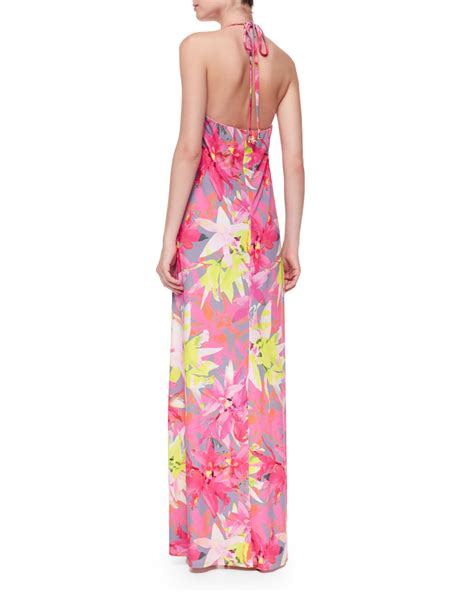 Dress Halter Flowery Biru Murah lyst nikka floral print halter maxi dress in pink