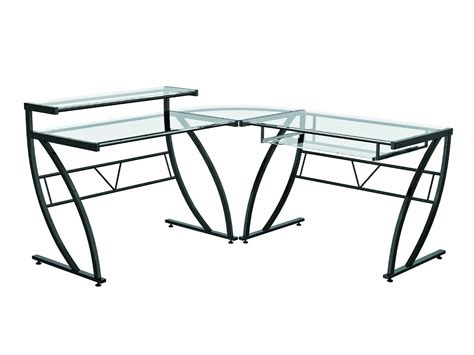 Glass Table L Shades Z Line Belaire Glass L Shaped Computer Desk New Ebay