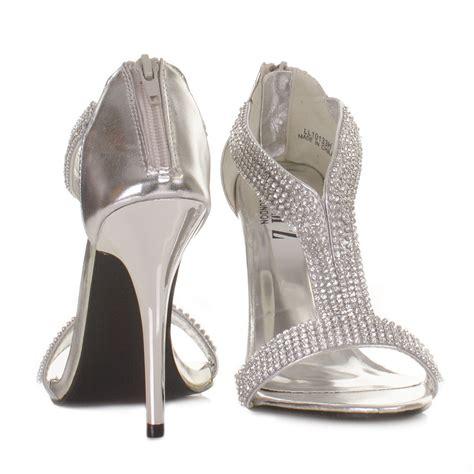 womens silver diamante high heel wedding prom
