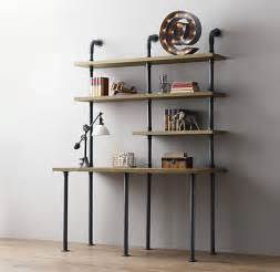 Modern Etagere Furniture Industrial Pipe Desk And Shelving Stylishly Industrious