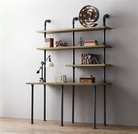 pipe desk with shelves industrial pipe desk and shelving stylishly industrious
