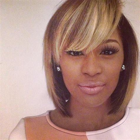 ebony two toned colored bobs 50 short hairstyles for black women classic bob bangs