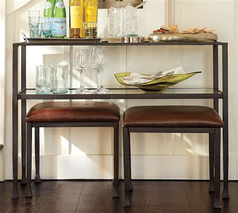 console table with bench underneath tanner console table bronze finish pottery barn